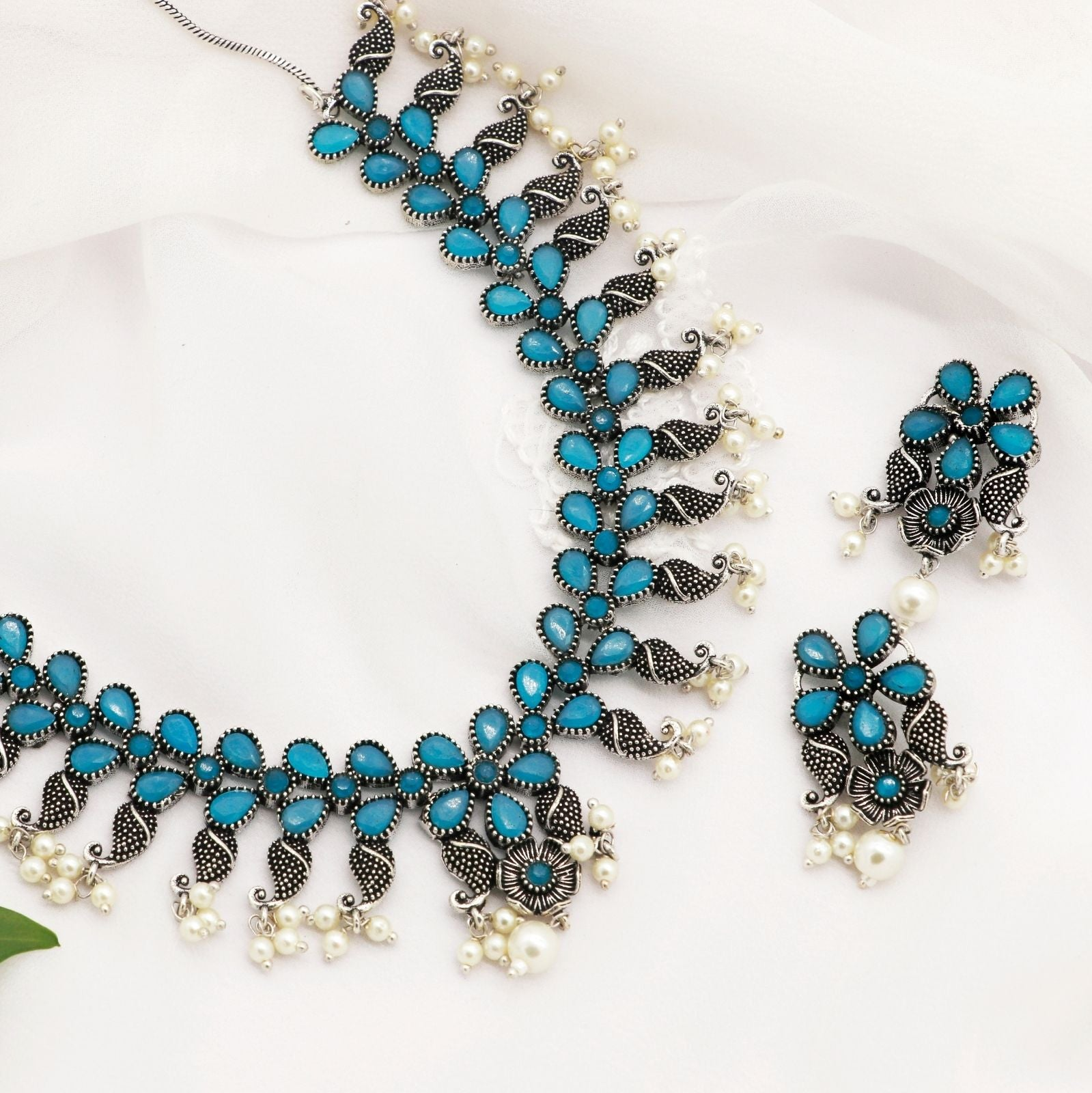 Niranjana Light Blue Stone Silver Oxidized Necklace Set - Teejh