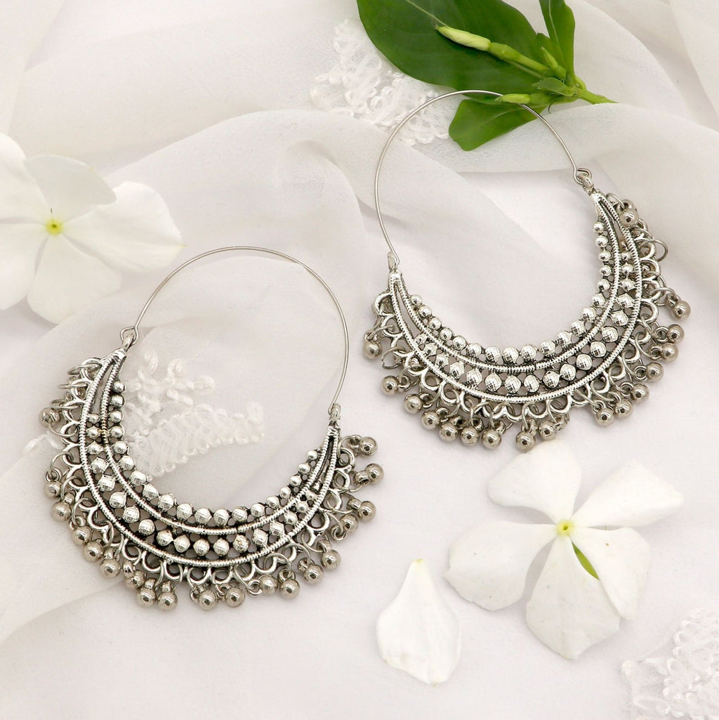 Aamod Silver Oxidized Earrings - Teejh