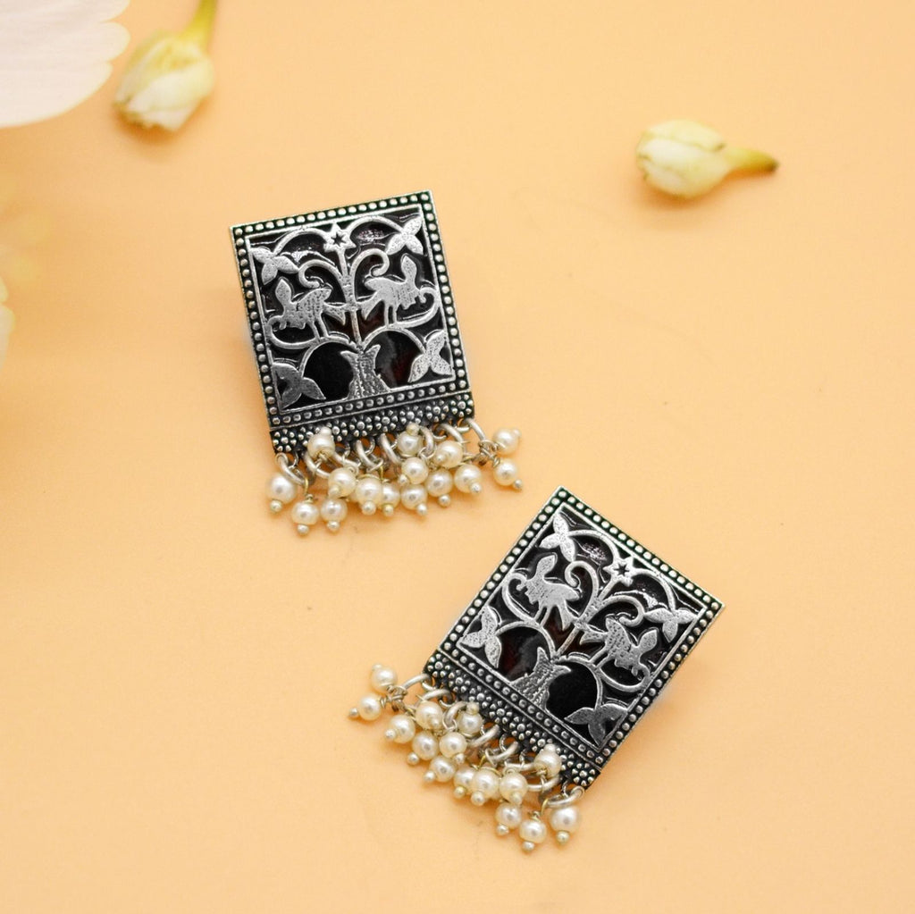 Miniature Black Enamel Silver Earrings - Teejh
