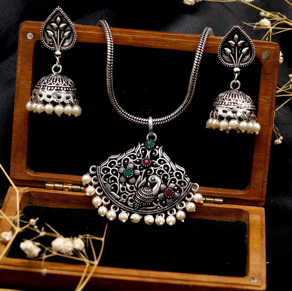 Pavaki Multi Colored Silver Oxidized  Pendant Set - Teejh