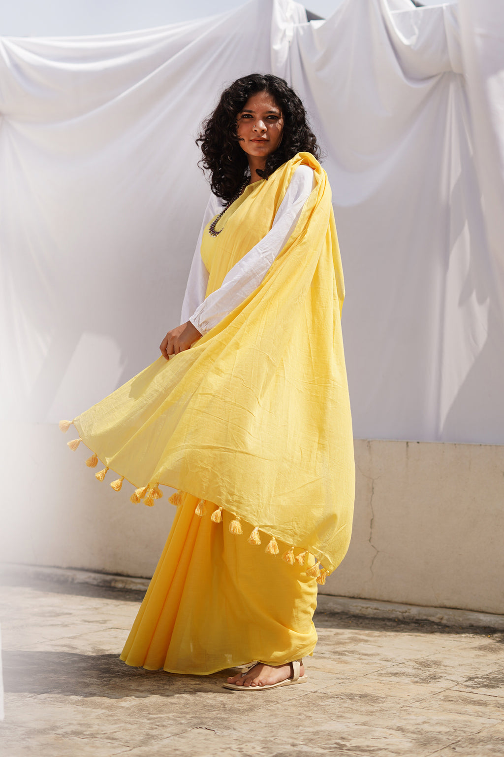 Teejh Cheesy Yellow Mulmul Cotton Saree