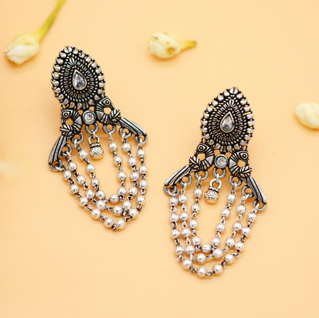 Tilaak Silver Peacock Earrings - Teejh