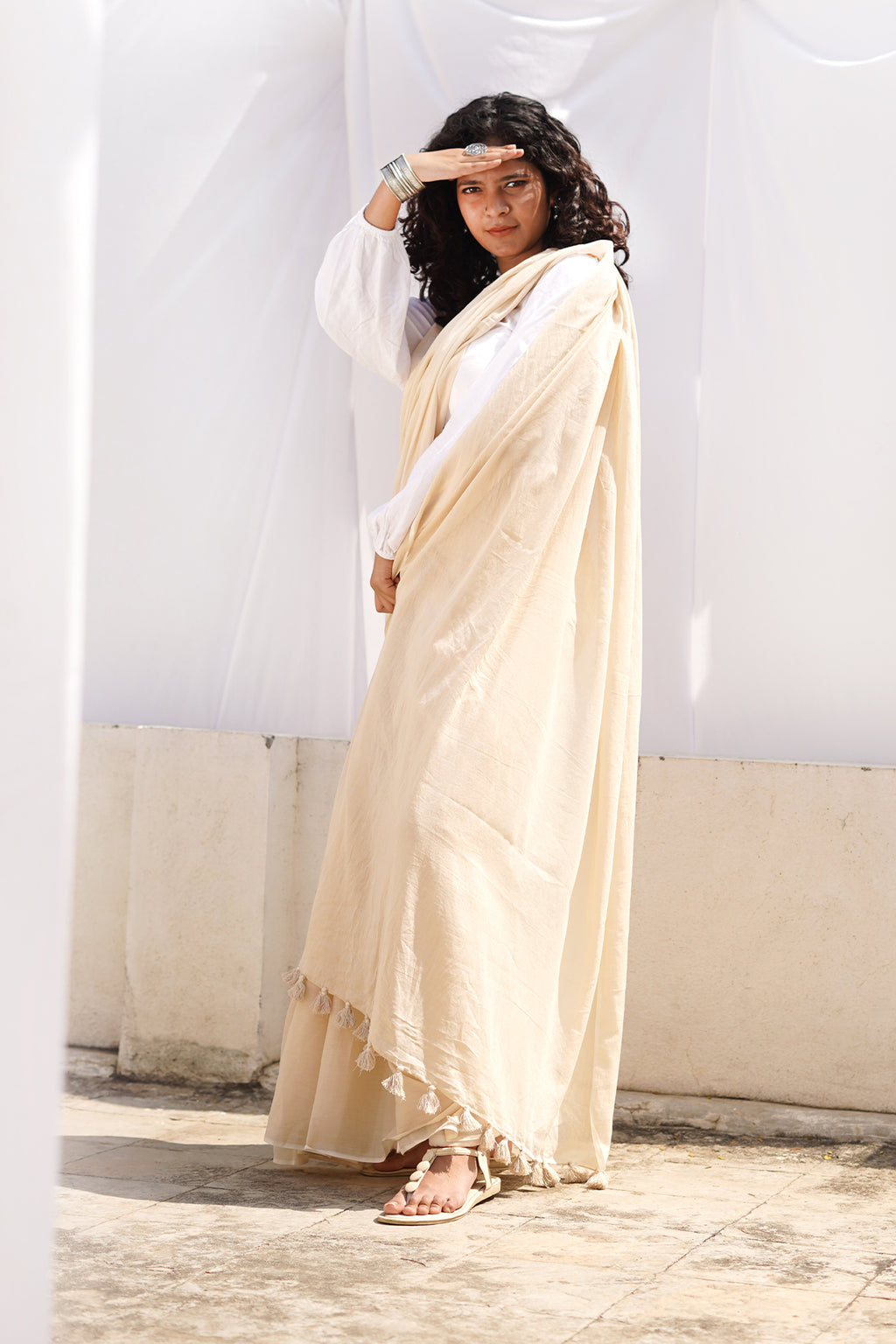 Teejh Latte Biege Mulmul Cotton Saree