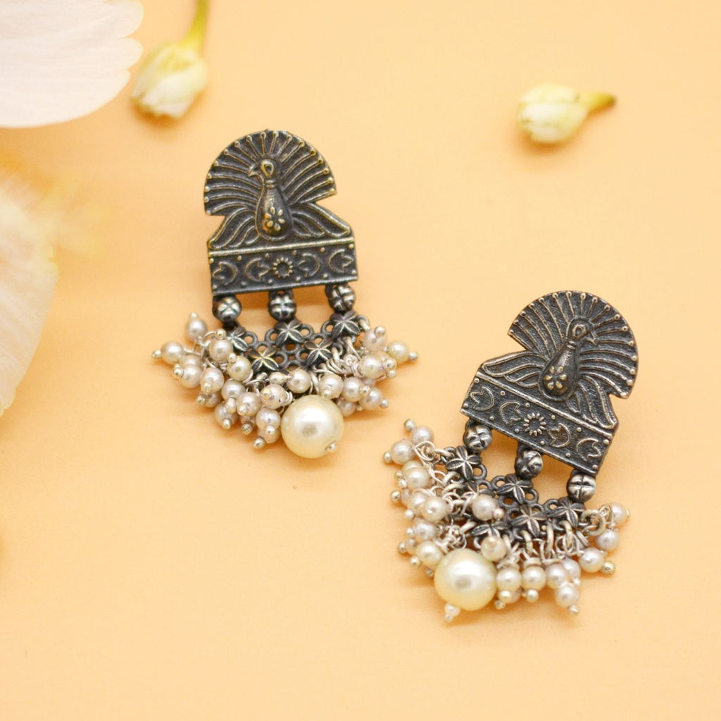 Antique Silver Peacock Pearl Earrings - Teejh