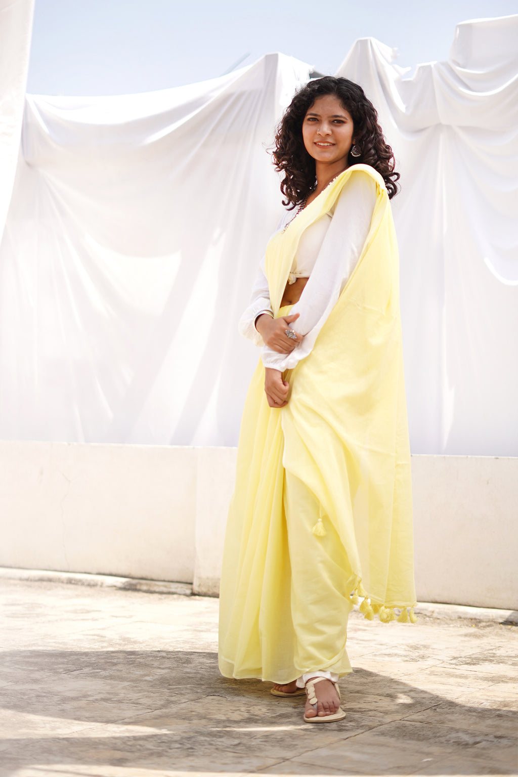 Teejh Sepia Yellow Mulmul Cotton Saree