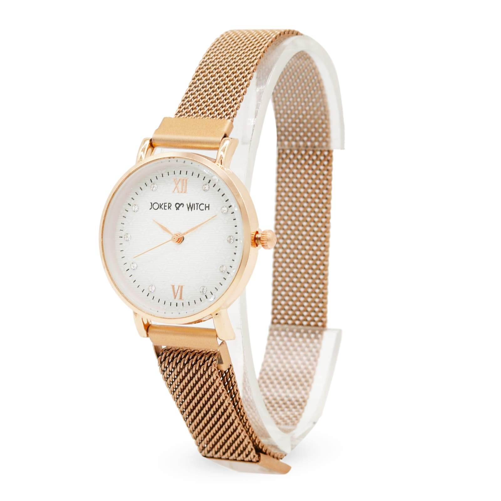 Lexi Rosegold Mesh Strap White Dial Watch - Joker & Witch