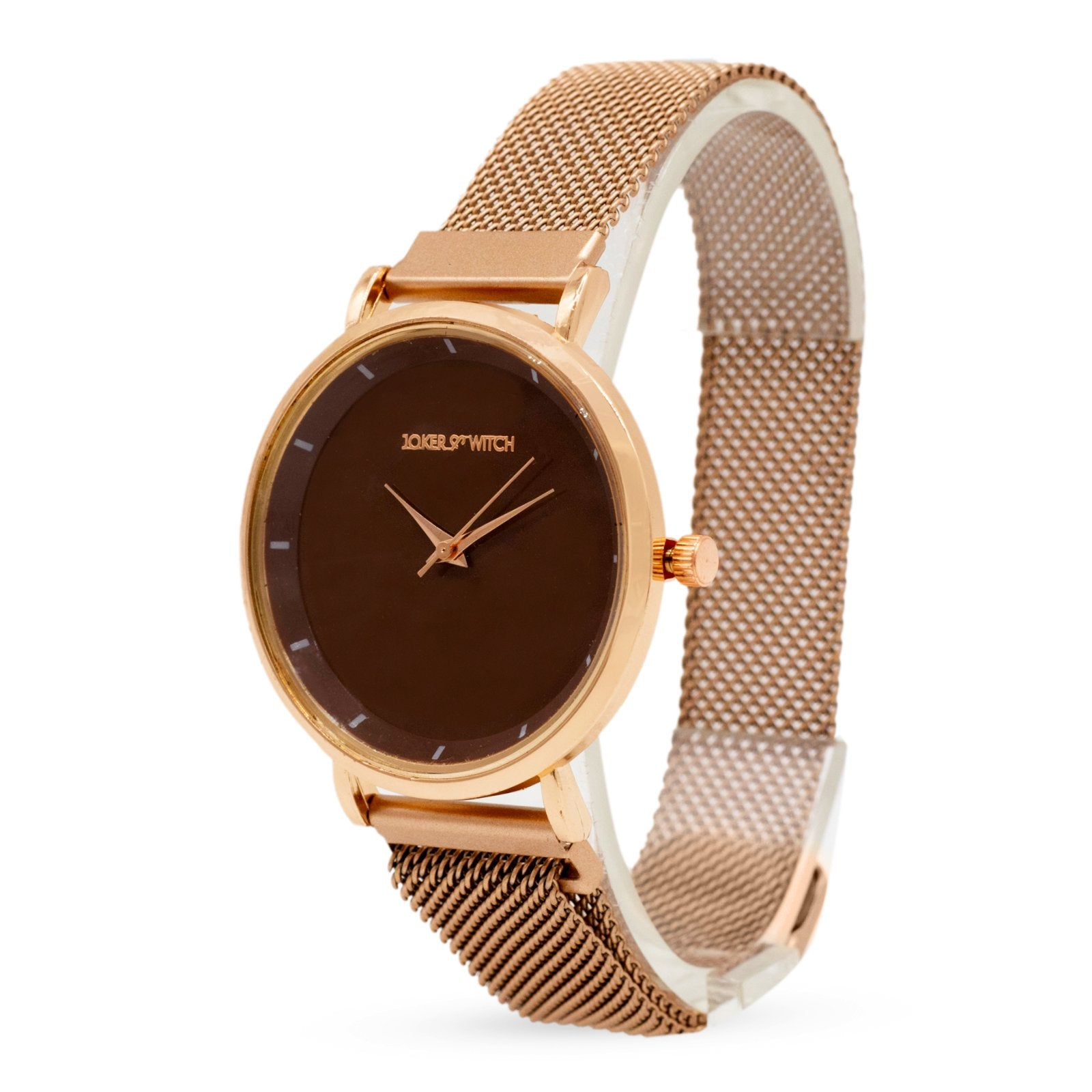 Lexi Rosegold Mesh Strap Brown Dial Watch - Joker & Witch