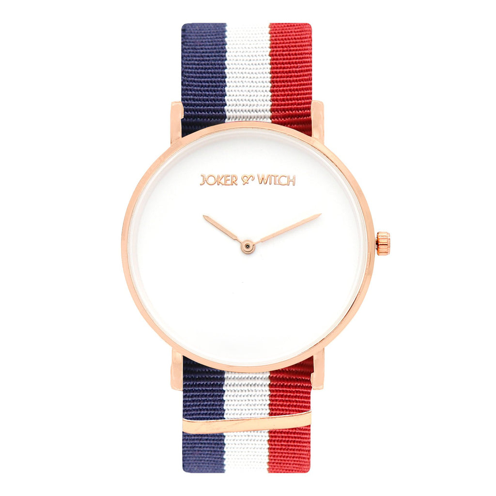 Classic Stripes Blue White Red Strap Watch