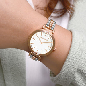 Petite White Rosegold Dual Tone  Watch - Joker & Witch