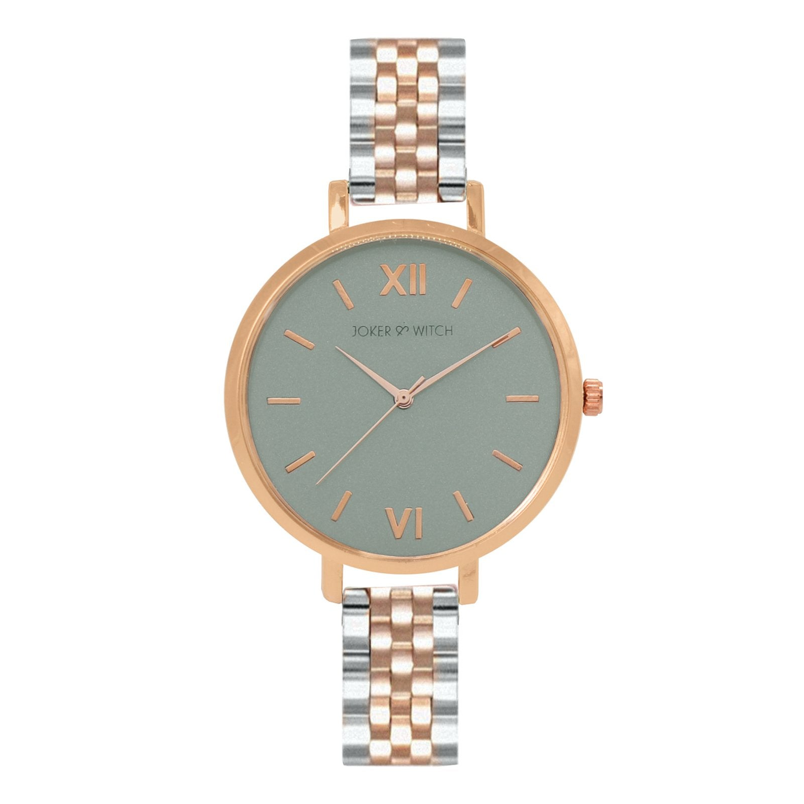 Agnes Grey Dial Rosegold And Silver Watch