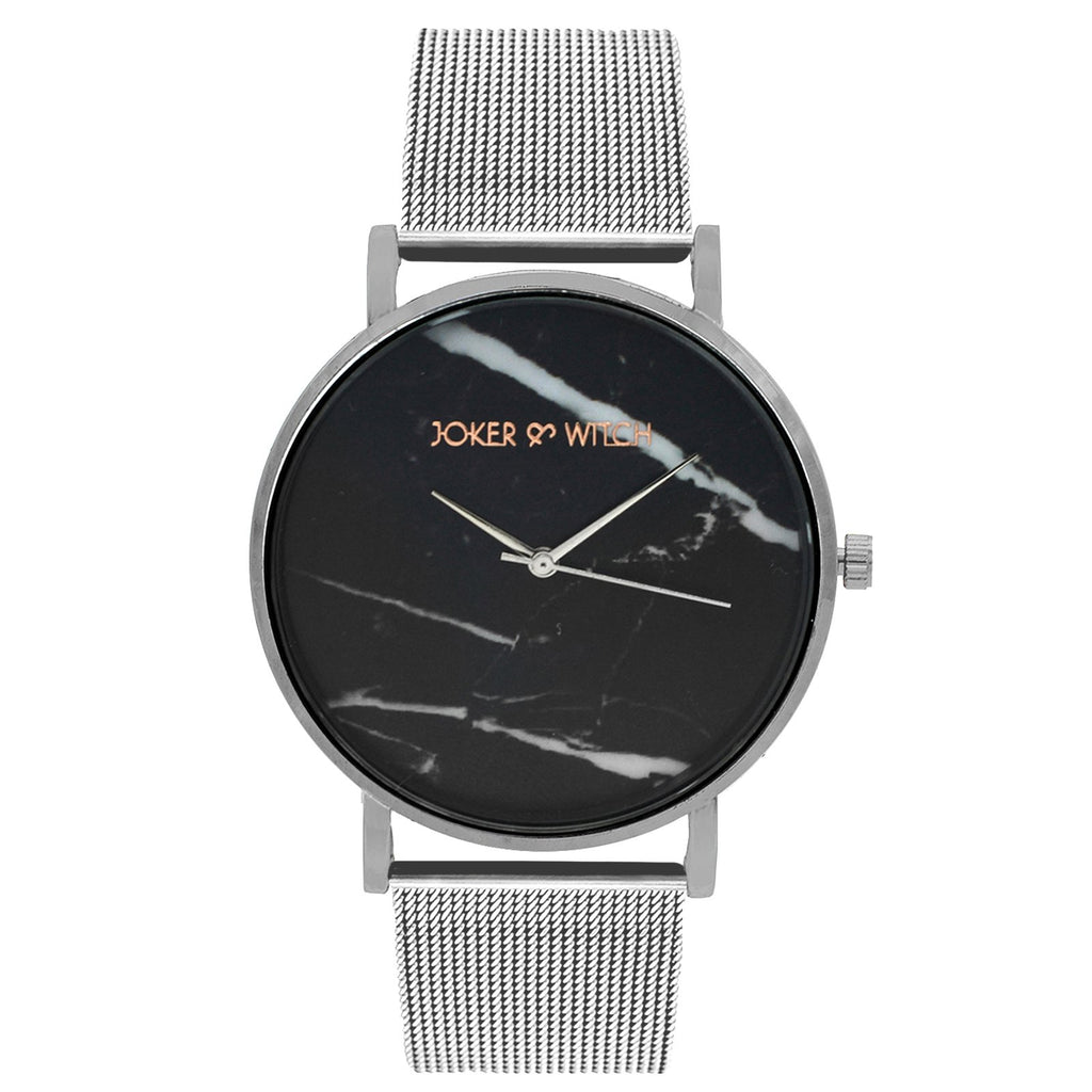Lucien Marble Dial Silver Mesh Watch