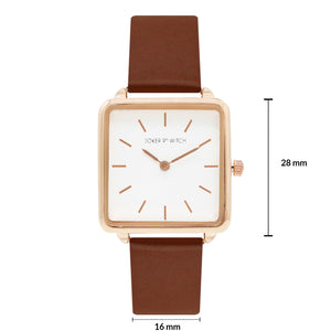 Emily Square White Dial Rosegold & Brown Strap Watch