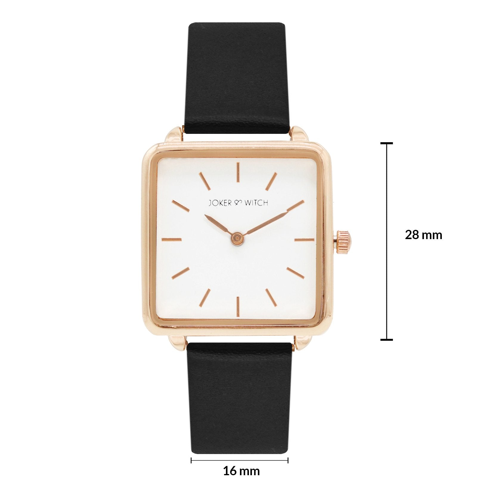 Emily Square White Dial Rosegold & Black Strap Watch