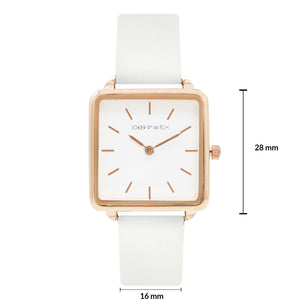 Emily Square Dial Rosegold All White Watch