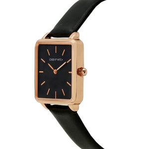 Emily Square Dial Rosegold All Black Watch
