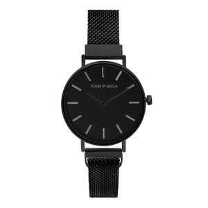 Natalie Silver & Black Magnetic Mesh Watch