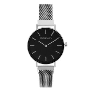 Natalie Black Dial Silver Magnetic Mesh Strap Watch
