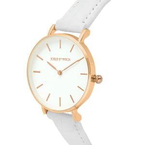 Ariana Rosegold White Croc Strap Watch