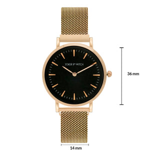 Ivy Black Dial Rosegold Magnetic Strap Watch