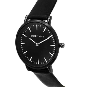 Ines All Black Faux Leather Strap Watch