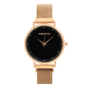Lexi Black Dial Rose Gold Magnetic Watch