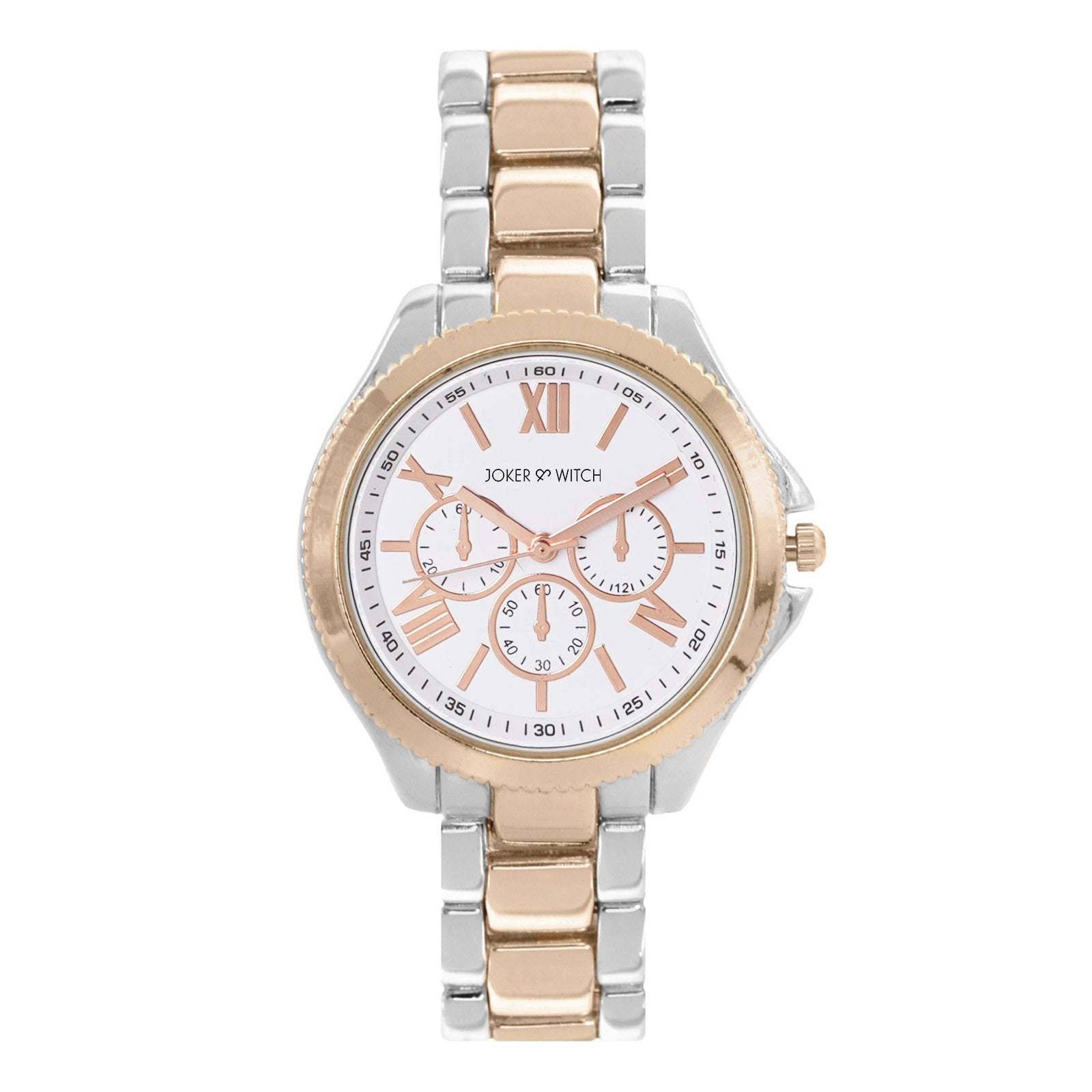 Ella White Dial Rose gold & Silver Watch