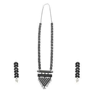 Teejh Zehar Black Metallic Silver Oxidized Jewelry Gift Set
