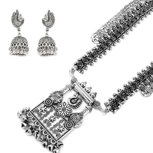 Teejh Poonam Metallic Silver Oxidized Jewelry Gift Set