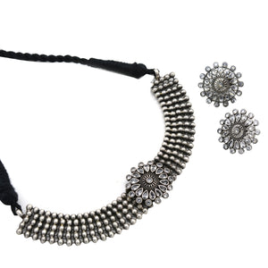 Teejh Nimisha White Metallic Silver Oxidized Jewelry Gift Set