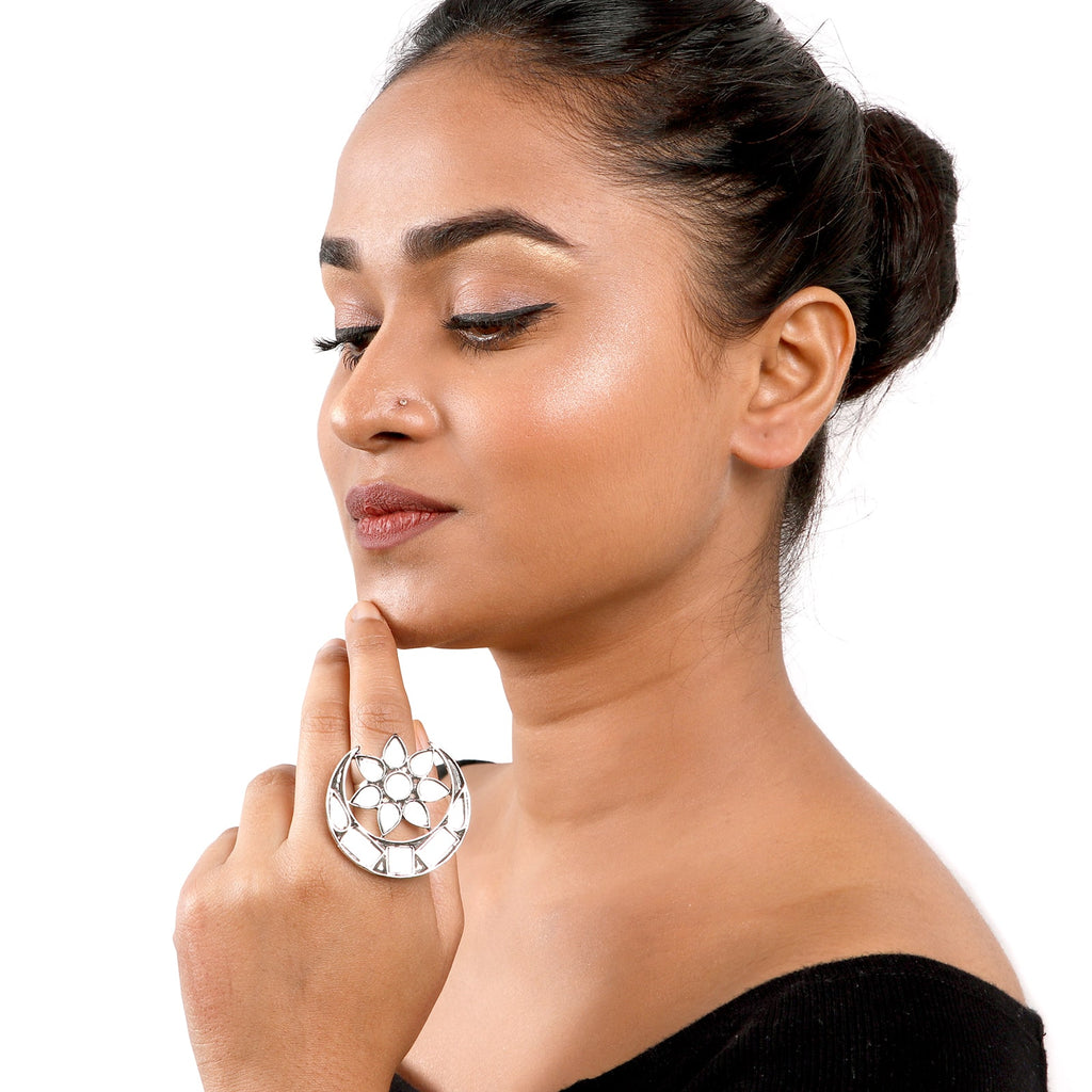 Shagun Silver Oxidized Mirror Ring - Teejh