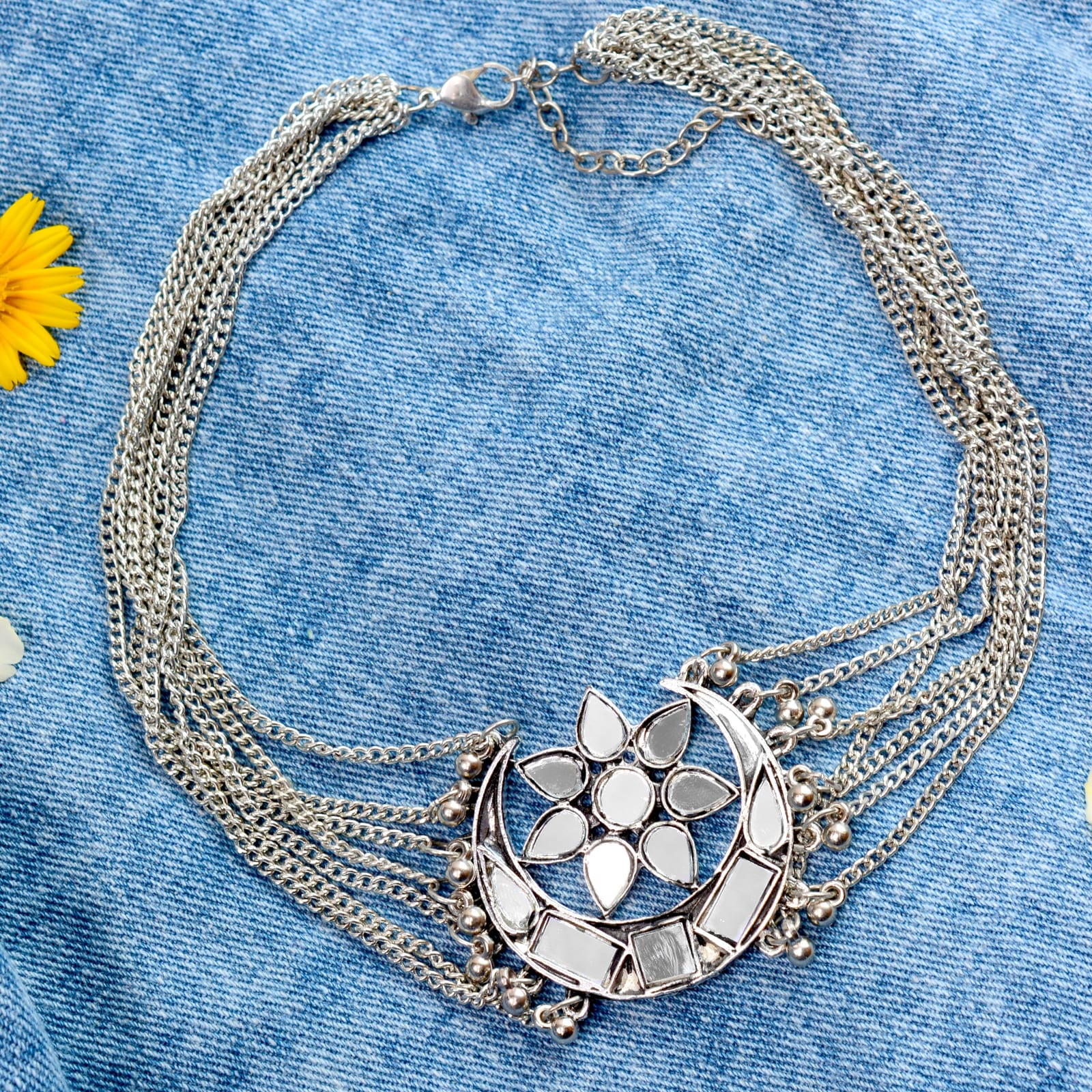 Palak Silver Oxidized Mirror Necklace - Teejh