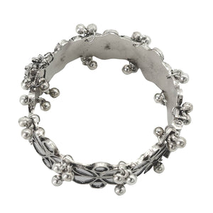 Palash Silver Oxidized Ghungroo Mirror Bangle - Teejh