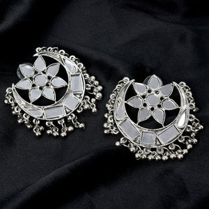 Akashi Silver Oxidized Mirror Earrings - Teejh