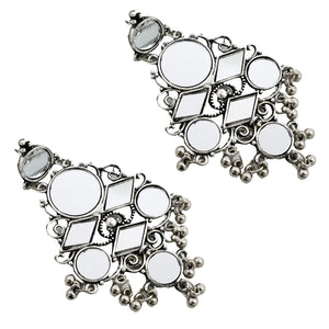 Ellora Silver Oxidized Mirror Earrings - Teejh