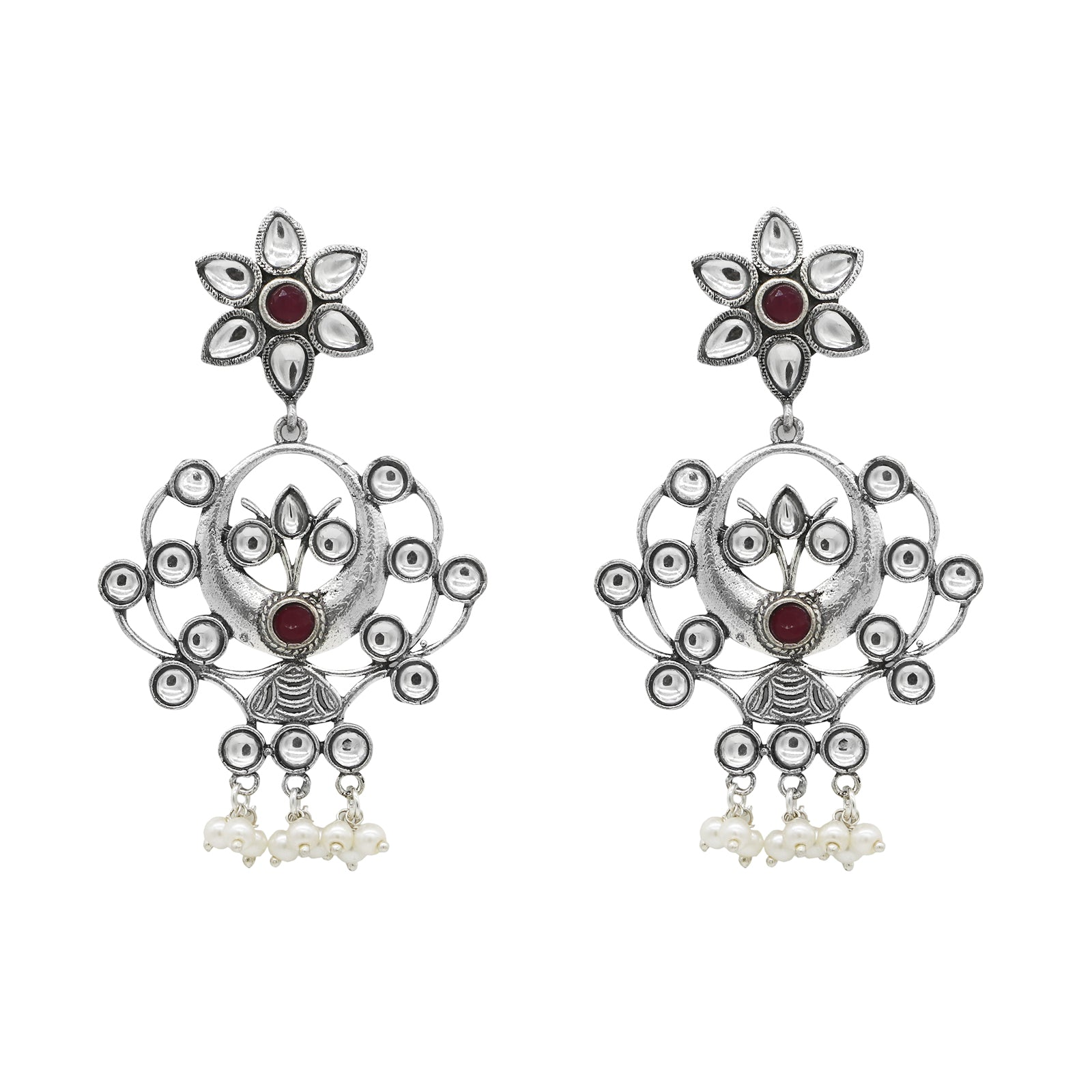 Bidyut Silver Oxidized Earrings - Teejh
