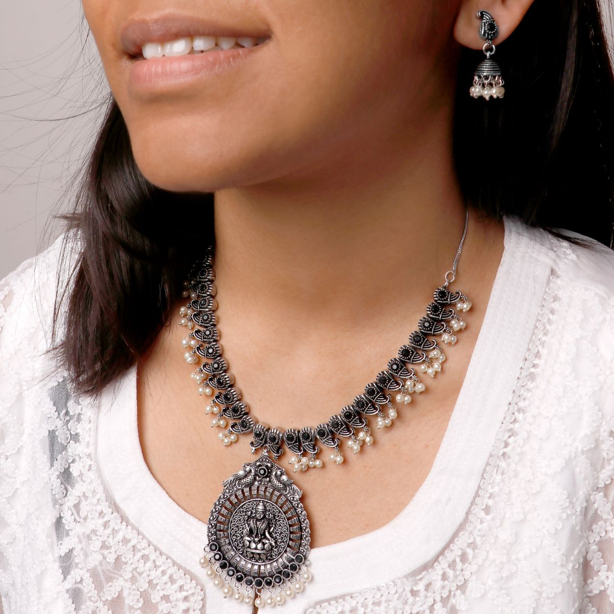 Ikshan Black Silver Oxidized Necklace Set - Teejh