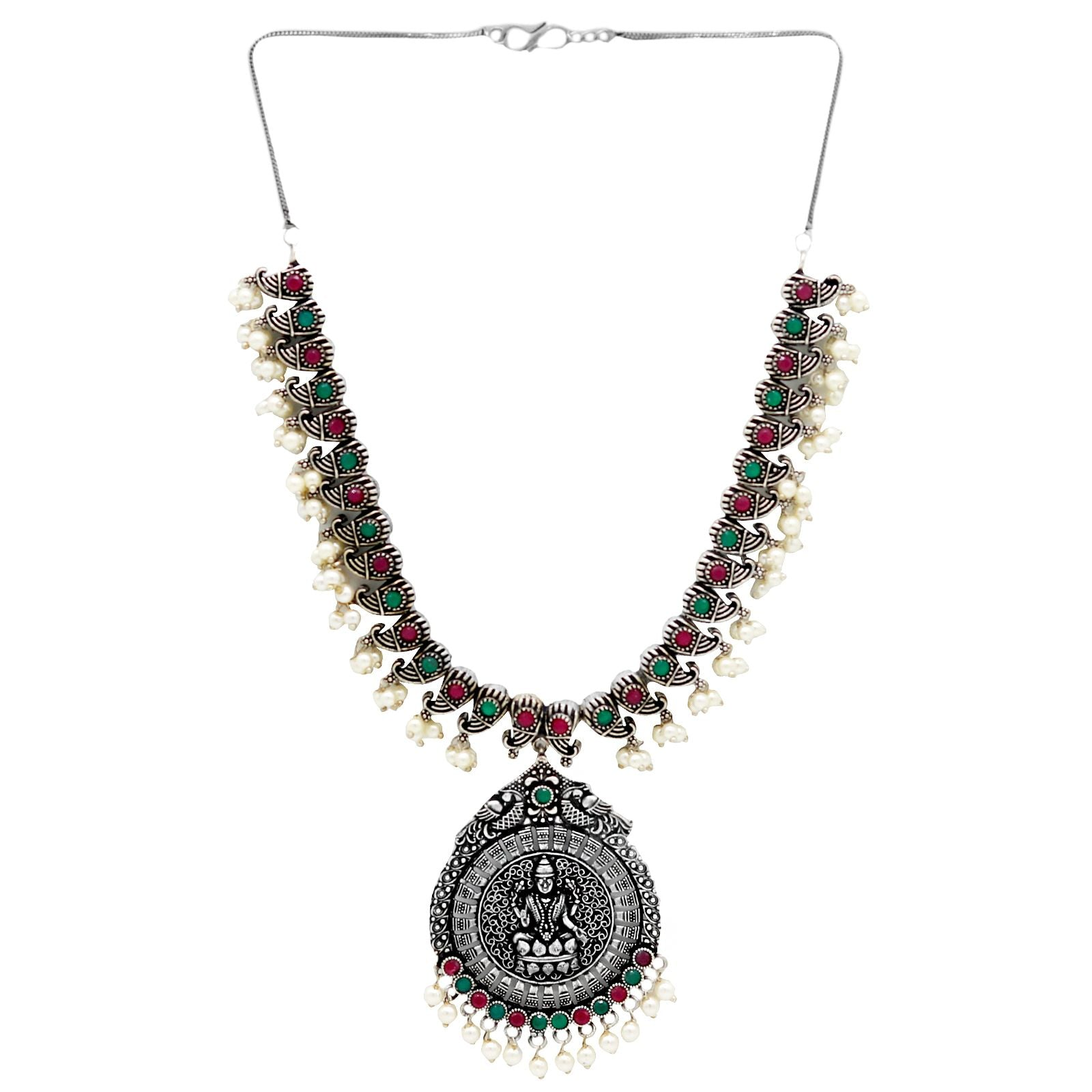 Ikshan Multi Colored Silver Oxidized Necklace Set - Teejh