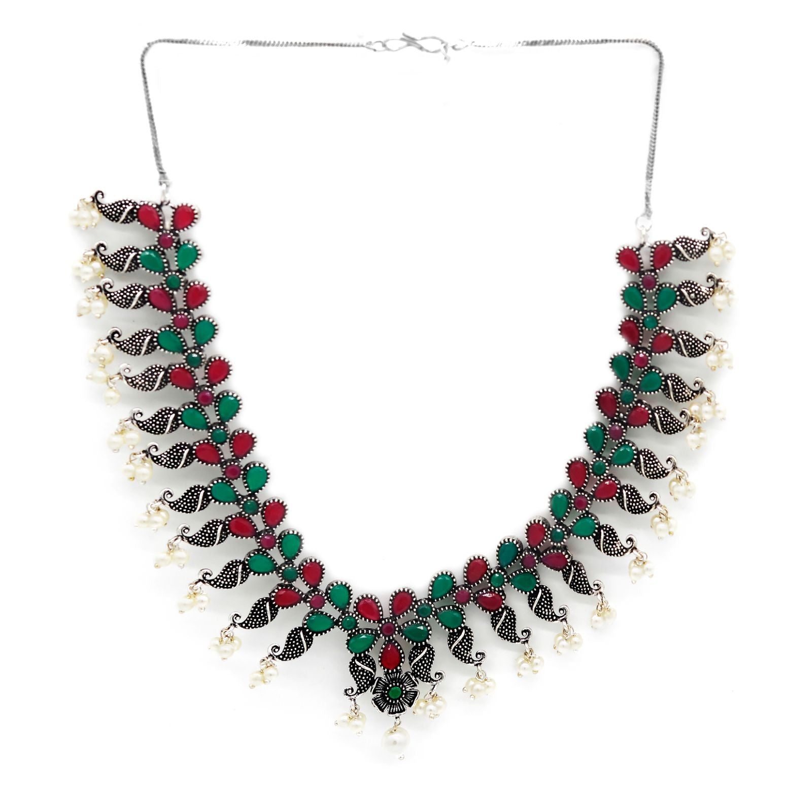 Niranjana Multi colored Silver Oxidized Necklace Set - Teejh