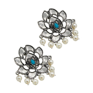 Kairav Lotus Silver Oxidized Earrings - Teejh