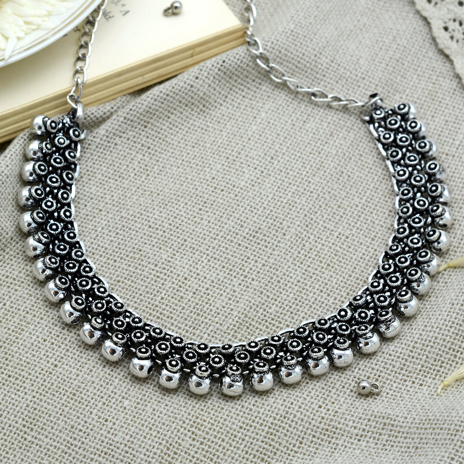 Arya Silver Oxidized Necklace - Teejh