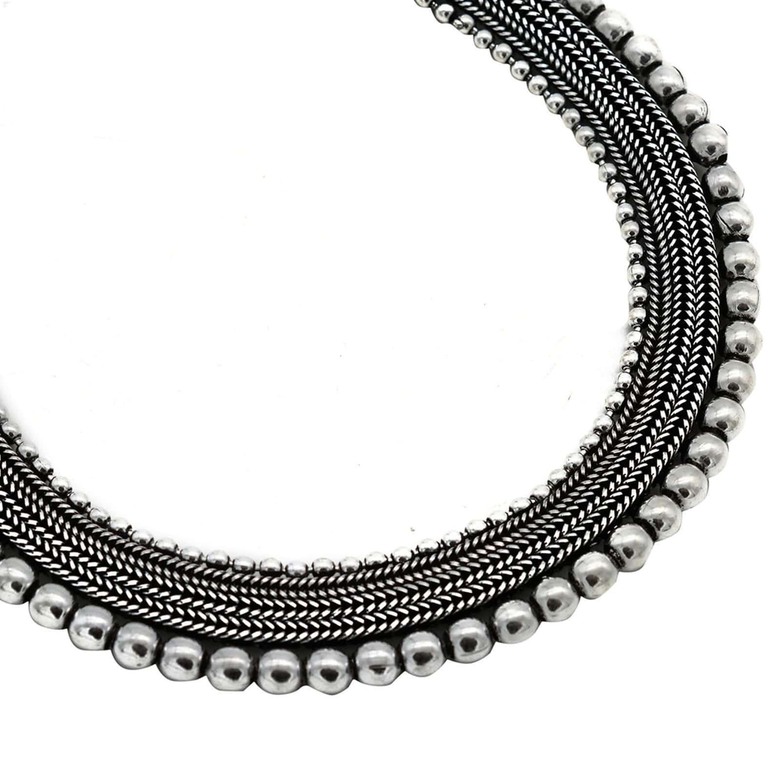 Mira Silver Oxidized Necklace - Teejh