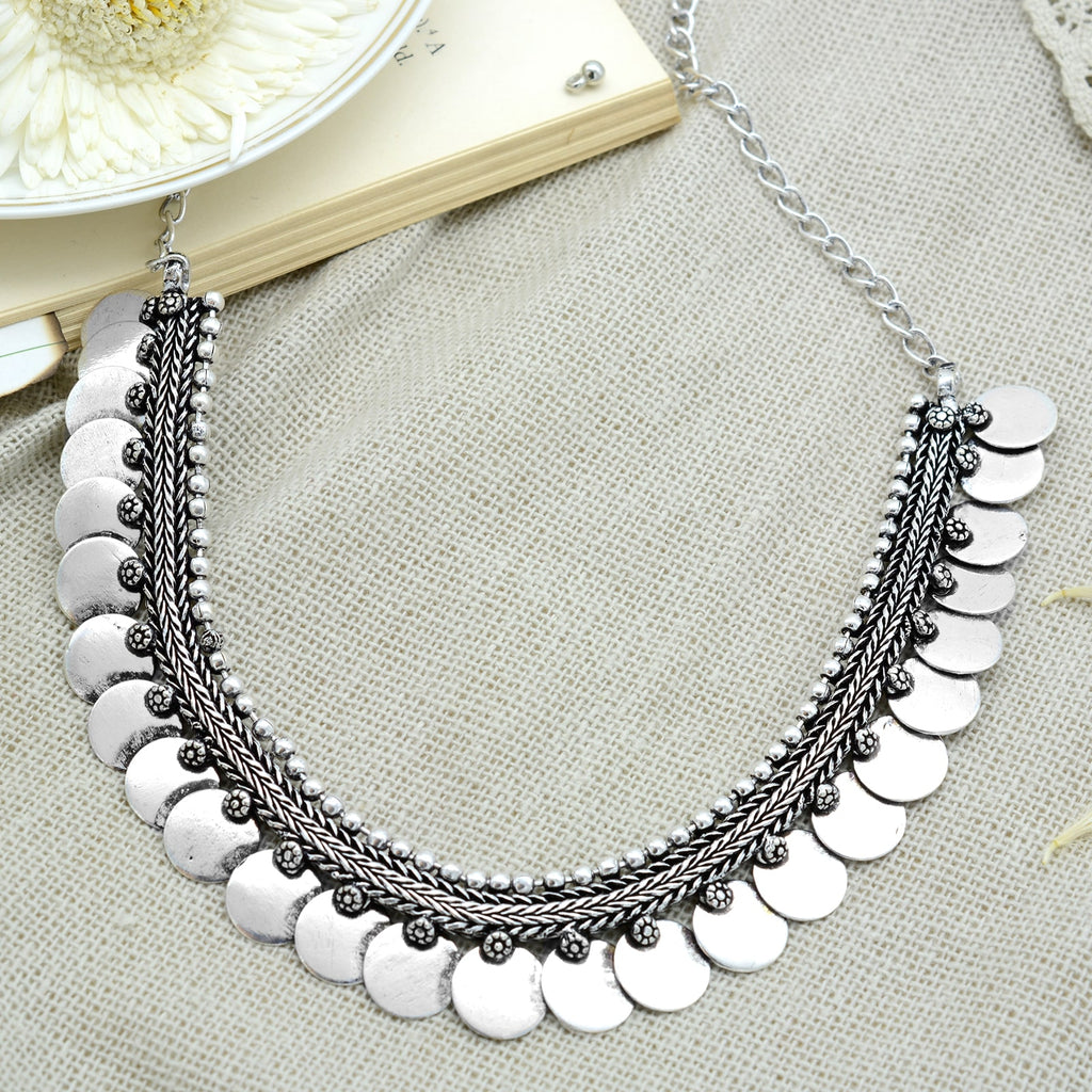 Aashi Silver Oxidized Necklace - Teejh