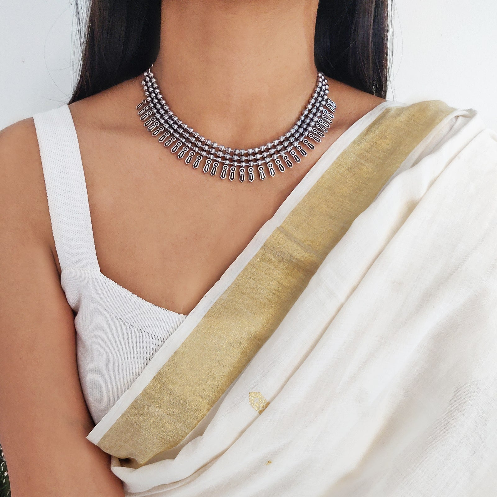 Mihika Silver Oxidized Necklace - Teejh