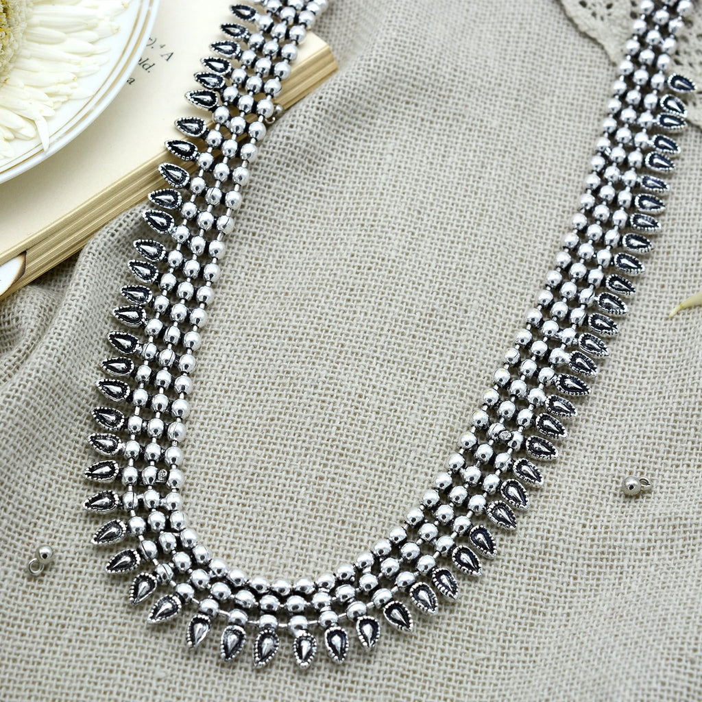 Yashika Silver Oxidized Long Necklace - Teejh