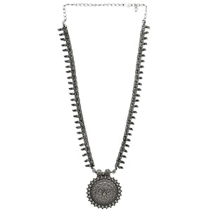 Kalpi Silver Oxidized Long Necklace - Teejh