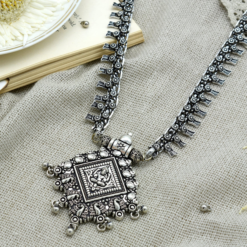 Adhya Silver Oxidized Long Necklace - Teejh