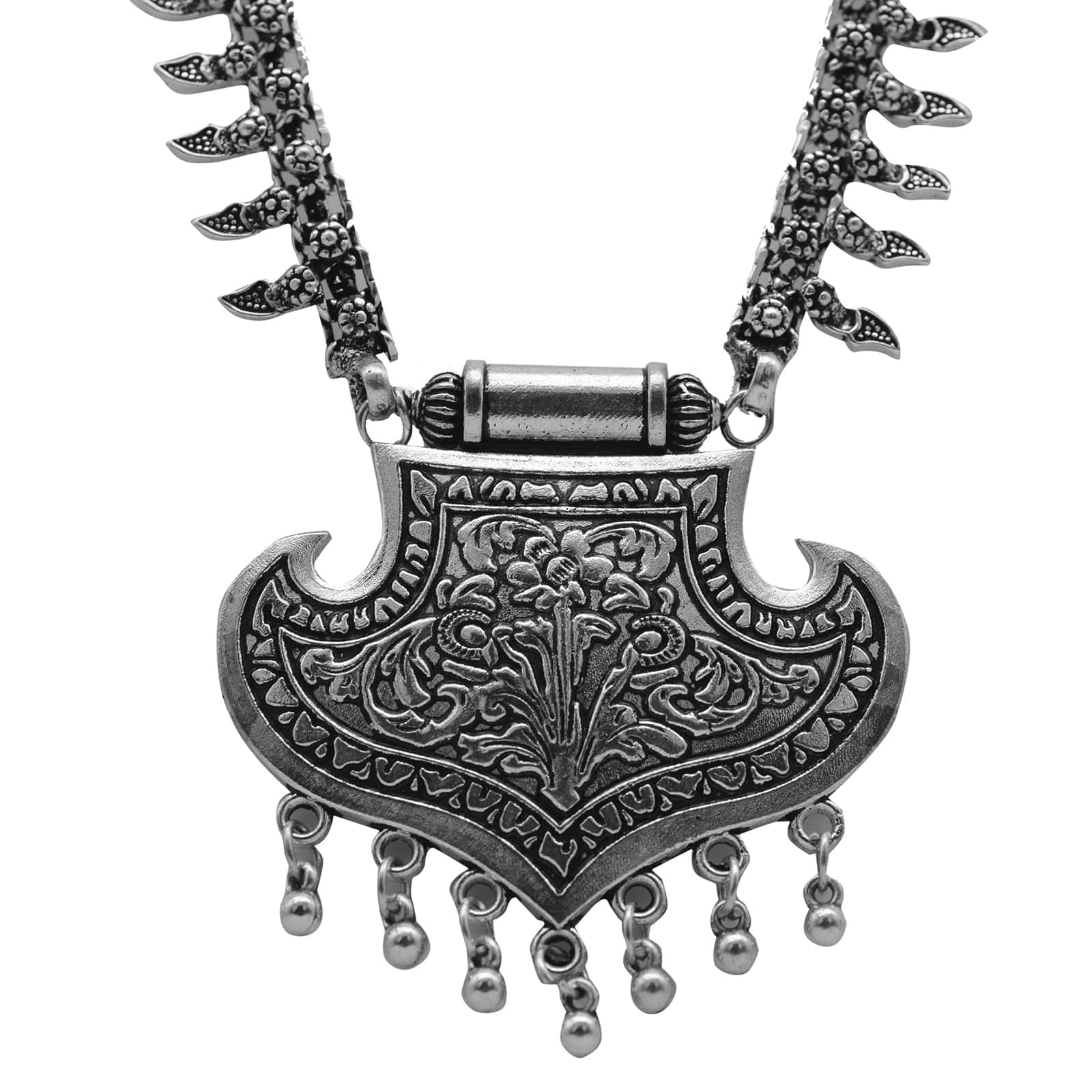Mayra Silver Oxidized Long Necklace - Teejh