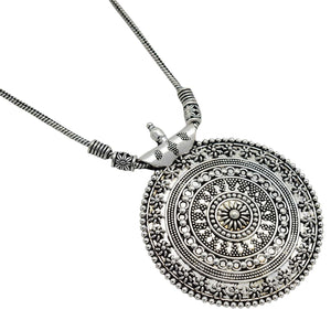 Ishya Silver Oxidized Long Necklace - Teejh