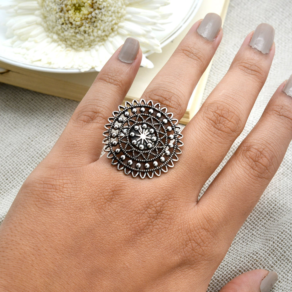 Ava Silver Oxidized Filigree Ring - Teejh