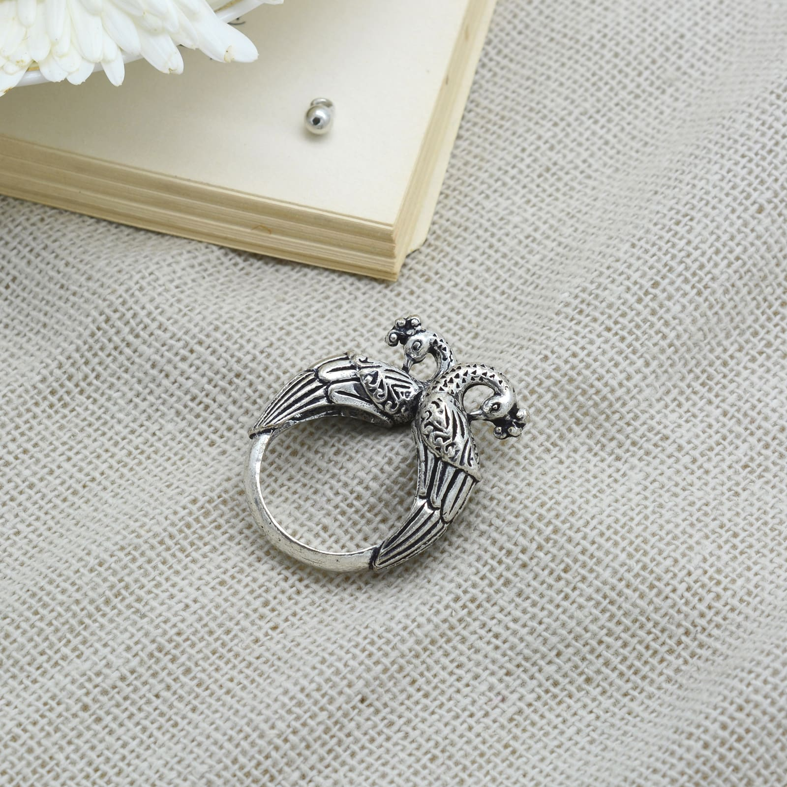 Viti Peacock Silver Oxidized Ring - Teejh